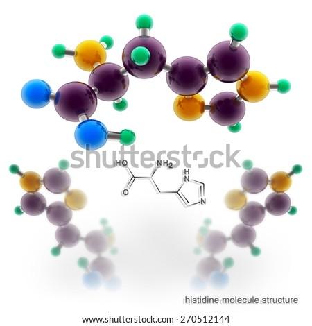Histidine molecule structure. Three dimensional model render - stock photo