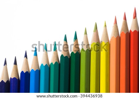 histogram chart made of colored pencil isolated on white