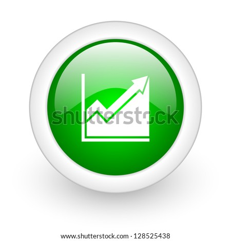 histogram green circle glossy web icon on white background - stock photo