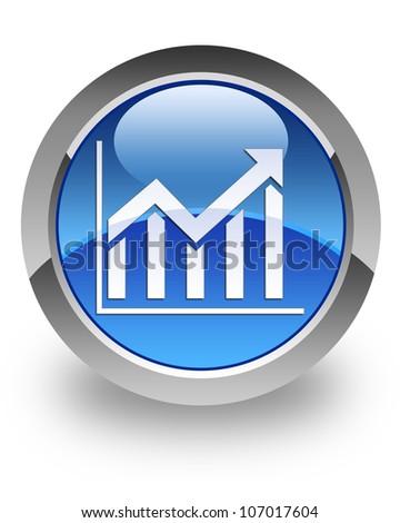 Histogram icon on glossy blue round button - stock photo