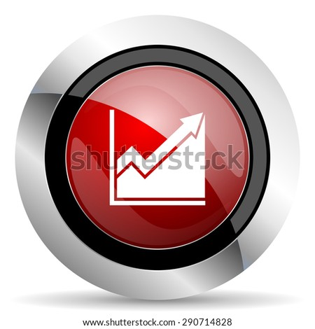 histogram red glossy web icon original modern design for web and mobile app on white background  - stock photo