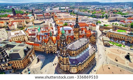 Histoirical center of the Dresden Old Town. Dresden has a long history as the capital and royal residence for the Electors and Kings of Saxony.Saxony, Germany. - stock photo