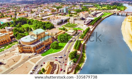 Histoirical center of the Dresden Old Town.River Elba. Dresden has a long history as the capital and royal residence for the Electors and Kings of Saxony.Saxony, Germany. - stock photo