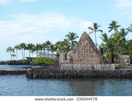 Historic Ahu' ena Heiau Temple in Kamakahou Bay Kona, Hawaii - stock photo