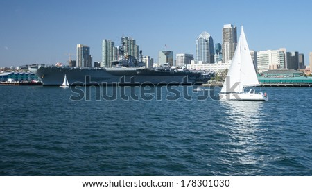 Historic aircraft carrier USS Midway in San Diego Bay, California - stock photo