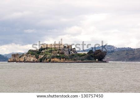 Historic Alcatraz Island prison in San Francisco, California - stock photo