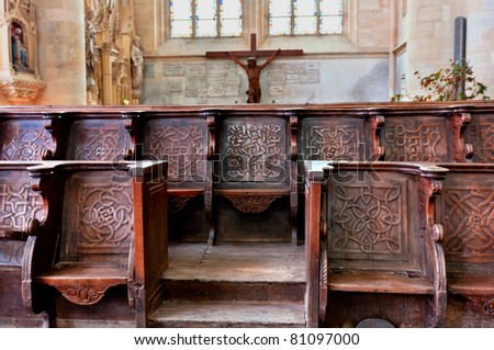 Historic and monumental church bench of the cathedral of coutances in normandy france