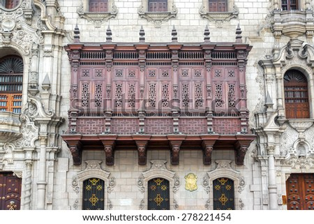 Historic architecture on the Plaza Mayor in the historic center of Lima, Peru - stock photo