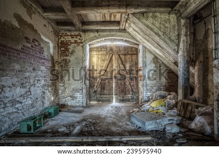 Historic barn in an abandoned mansion - stock photo