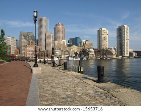 Historic Boston Harbor Waterfront skyline horizontal view - stock photo