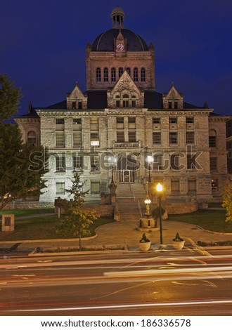 Historic building in Frankfort, Kentucky at sunset - stock photo