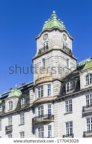 Historic building in the center of Oslo. Norway - stock photo