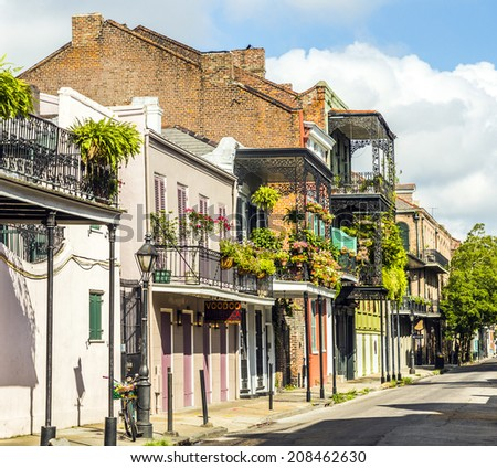 historic building in the French Quarter in New Orleans - stock photo