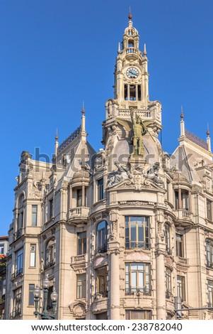 Historic building on the Liberdade square of Porto. - stock photo