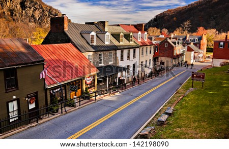 Historic buildings and shops on High Street in Harper's Ferry, West Virginia. - stock photo