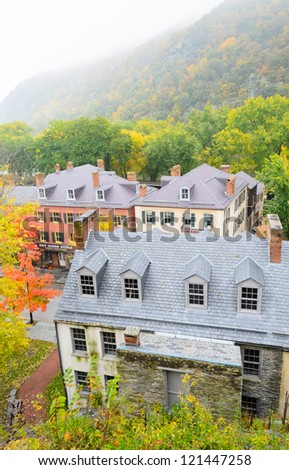 historic buildings at Harpers Ferry National Historical Park - stock photo