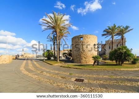 Historic buildings in Alghero, Sardinia - stock photo