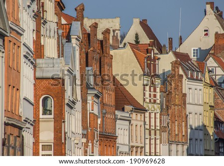 Historic buildings in the evening light in Lubeck, Germany - stock photo
