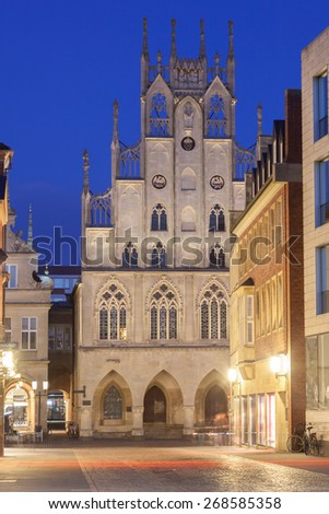 Historic buildings in the old town of Muster, North Rhine-Westphalia, Germany - stock photo