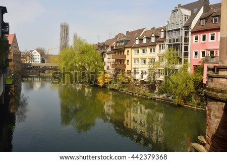 Historic buildings on Pegnitz riverside in Nuremberg old town district.