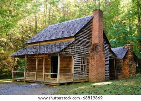 historic cabin in Cades Cove - stock photo