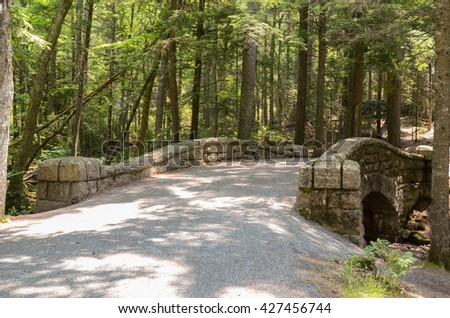Historic carriage road bridge surrounded by forest (soft focus background) in Acadia National Park, Maine, USA  - stock photo