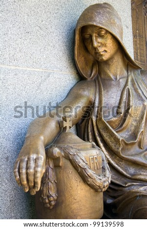 historic cemetery artwork on graveyard - stock photo