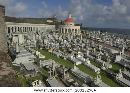 Historic cemetery at Castillo San Felipe del Morro, a 16th-century fortress located in San Juan, Puerto Rico, designated as UNESCO World Heritage Site in 1983. - stock photo