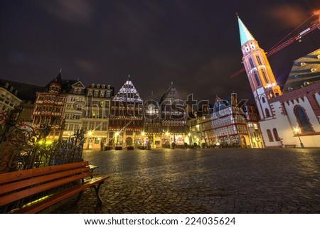 Historic Center of Frankfurt at dusk  - stock photo