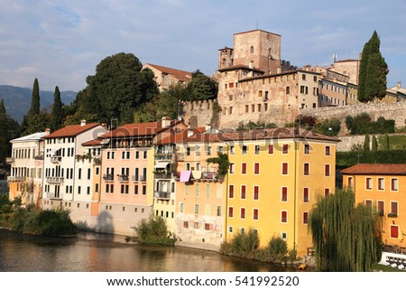 historic centre of Bassano del Grappa on riverside  of Italy