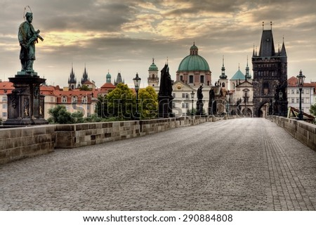 Historic Charles Bridge in Prague, Czech Republic - stock photo