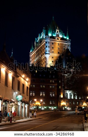 Historic Chateau Frontenac in old Quebec, at night - stock photo