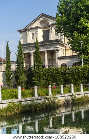 Historic church in Gorgonzola (Milan, Lombardy, Italy), on the Martesana canal