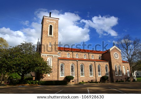 Historic Church in rural Mississippi state - stock photo
