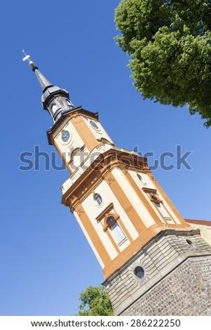 Historic church in Templin city, East Germany - stock photo