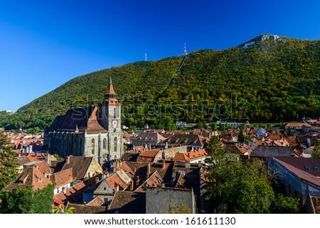 historic city center in brasov (kronstadt), transylvania, romania - stock photo