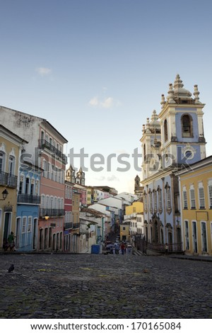 Historic city center of Pelourinho Salvador da Bahia Brazil features colonial buildings and cobblestone streets - stock photo