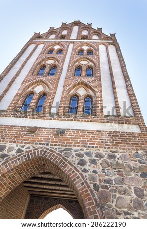 Historic city gate in Templin, East Germany - stock photo