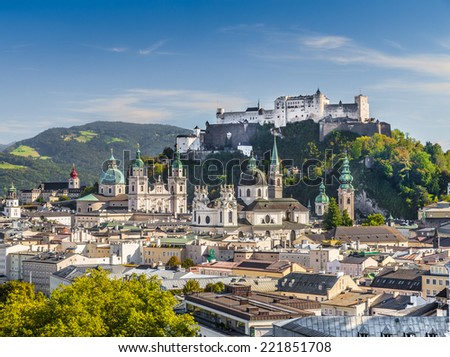 Historic city of Salzburg with Hohensalzburg Fortress, Salzburger Land, Austria - stock photo