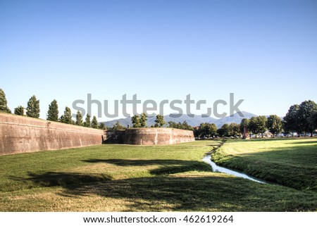 Historic city walls of Lucca, a city in Toscana in Italy