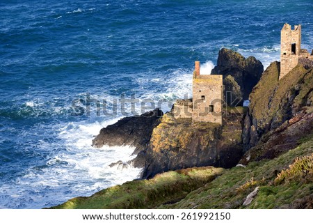 Historic cliff mine engine houses at Bottallack, Cornwall, England.  World Heritage mining area. - stock photo