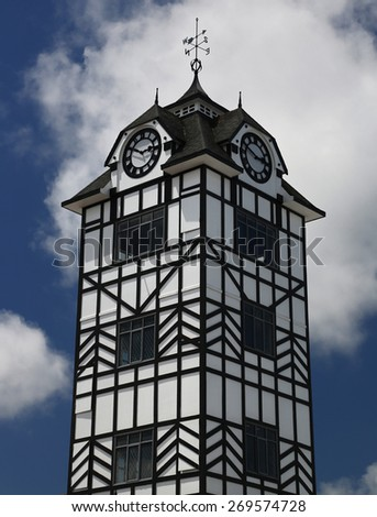 Historic clocktower of Stratford near volcano Taranaki, New Zealand - stock photo