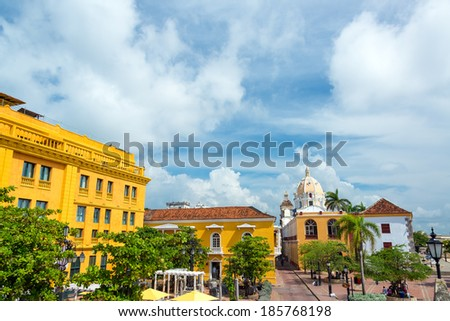 Historic colonial plaza in Cartagena, Colombia - stock photo