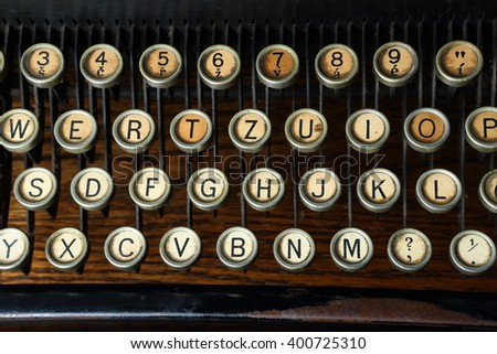 Historic czech typewriter keyboard detail - horizontal