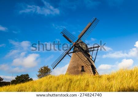 Historic Danish windmill in Skagen, Northern Denmark,  - stock photo