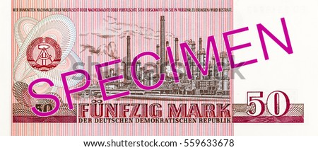 historic 50 east german mark bank note (1971) reverse