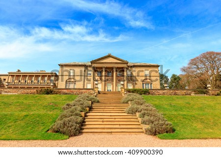 Historic English Stately Home and park in Cheshire, UK. - stock photo