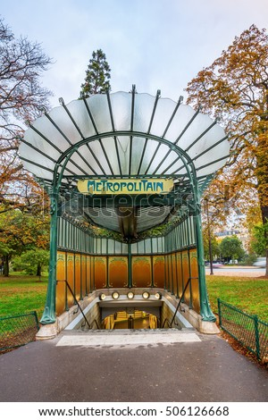 historic entrance of the Metro in Paris, France