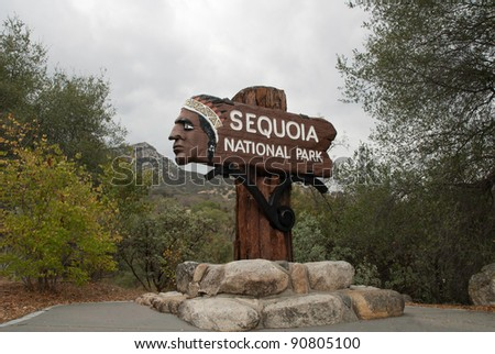 Historic Entry Sign at Sequoia National Park, USA - stock photo
