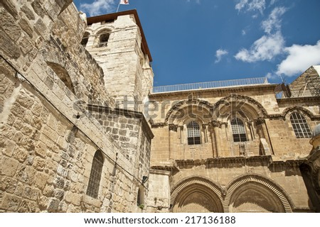Historic facade of the Church of the Holy Sepulchre in Jerusalem, Israel - stock photo